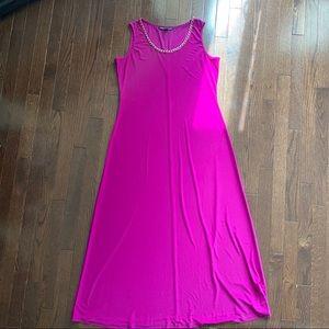 Fuschia/Magenta Maxi Sleeveless Shift Dress
